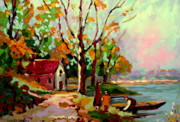 Boats In Water Paintings - Cottage Country The Eastern Townships A Romantic Summer Landscape by Carole Spandau