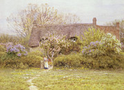 Country Cottage Metal Prints - Cottage Freshwater Isle of Wight Metal Print by Helen Allingham