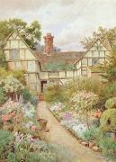 Thatch Framed Prints - Cottage Garden Framed Print by Thomas Nicholson Tyndale