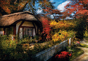 Fall Bushes Prints - Cottage - Grannies Cottage Print by Mike Savad