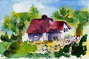 Country Cottage Prints - Cottage Home Print by Anne Duke