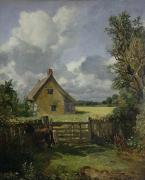 Country Cottage Metal Prints - Cottage in a Cornfield Metal Print by John Constable