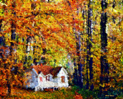 Yellow Trees Framed Prints - Cottage in the Fall    Paint 2 Framed Print by Cheryl Young