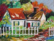 White House Pastels Framed Prints - Cottage in the Sun Framed Print by John  Williams