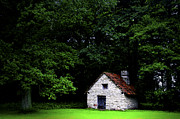 Dark Green Framed Prints - Cottage in the woods Framed Print by Fabrizio Troiani
