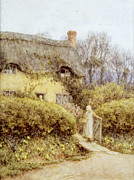Apron Painting Framed Prints - Cottage near Freshwater  Framed Print by Helen Allingham
