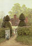 Gate Painting Framed Prints - Cottage Near Pinner Framed Print by Helen Allingham