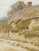 Hollyhocks Posters - Cottage near Wells Somerset Poster by Helen Allingham