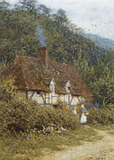 Country Cottage Framed Prints - Cottage near Witley Surrey Framed Print by Helen Allingham