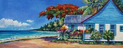 Bay Islands Painting Framed Prints - Cottage on 7-Mile Beach Framed Print by John Clark