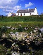 Old Farm Houses Framed Prints - Cottage On Achill Island, County Mayo Framed Print by The Irish Image Collection