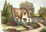 Quaint Drawings - Cottage on the Lane by Betty Jean Burnett