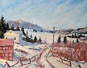 Winter Landscape Paintings - Cottage Road by Richard T Pranke