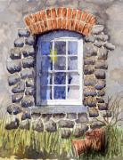 Wooden Building Painting Posters - Cottage Window Poster by Mike Lester