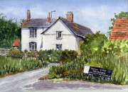 Charming Cottage Prints - Cottages at Binsey. Nr Oxford Print by Mike Lester