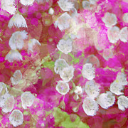 Cotton Mixed Media Prints - Cotton Candy Blossoms IV Print by Maria Eames