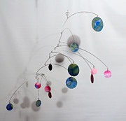 Ceiling Mobile Sculptures - Cotton Candy Complexity Mobile Sculpture by Carolyn Weir