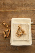 Peg Photos - Cotton dish towel with clothes pins by Sandra Cunningham