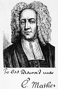 Clergyman Framed Prints - Cotton Mather 1663-1728 Framed Print by Everett