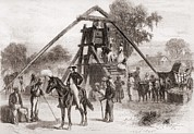Slaves Prints - Cotton Press In Operation In The South Print by Everett