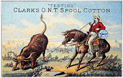 Longhorn Posters - Cotton Thread Trade Card Poster by Granger