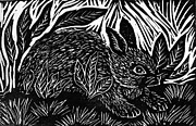 Linoleum Mixed Media Posters - Cottontail block print Poster by Ellen Miffitt