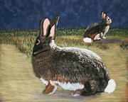 Rabbit Pastels Posters - Cottontails Poster by Michele Turney