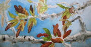 Cottonwood Paintings - Cottonwood Branches In Spring by Beverley Harper Tinsley
