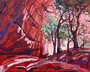 Red Rock Canyon Paintings - Cottonwoods at Chelly by Erin Hanson