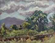Split Rail Fence Painting Prints - Cottonwoods At The Ranch Print by Zanobia Shalks