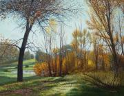 Cottonwood Paintings - Cottonwoods by a Pond by Valdimir Chapko