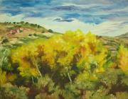 Cottonwood Paintings - Cottonwoods by Theresa Higby