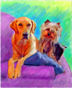 Dogs Digital Art Framed Prints - Couch Potatoes Framed Print by Karen Derrico