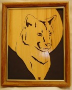 Scroll Saw Posters - Cougar and Moon Poster by Russell Ellingsworth