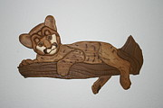 Intarsia Sculpture Posters - Cougar kitty Poster by Bill Fugerer