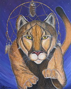 Dream Catcher Paintings - COUGAR MEDICINE with Cobalt Blue Background by Aimee Mouw