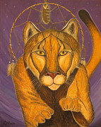 Dream Catcher Paintings - COUGAR MEDICINE with Violet Background by Aimee Mouw