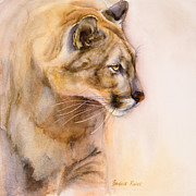 Mountain Lion Paintings - Cougar on the Prowl by Bonnie Rinier
