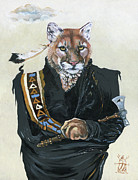 Spirit Guide Prints - Cougar Shaman Print by J W Baker
