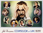 1933 Movies Framed Prints - Counsellor At Law, Center John Framed Print by Everett