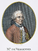 Diplomat Framed Prints - COUNT de VERGENNES (1717-1787). Charles Gravier, Comte de Vergennes, French statesman and diplomat.  Steel engraving, 19th century Framed Print by Granger