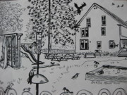 Pen And Ink Drawing Art - Count the Fifteen Birds by Stella Sherman