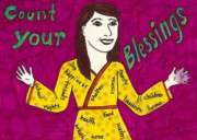 Blessings Drawings - Count Your Blessings by Laurie Silva