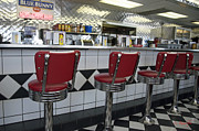 Old Diner Bar Stools Posters - Counter Service Poster by Cheri Randolph