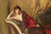 Pillows Metal Prints - Countess Michael Karolyi reclining on a divan Metal Print by John Quincy Adams