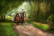 Hay Wagon Prints - Country - Horse - The hay ride  Print by Mike Savad