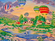 Amy Bradley Posters - Country Balloon Ride Poster by Amy Bradley
