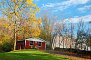 Autumn In The Country Prints - Country Barn with tractor Print by Crystal Wightman