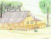 Cabin Drawings - Country Cabin by John Hoppy Hopkins