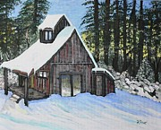 Snow Scenes Painting Framed Prints - Country Cabin Framed Print by Reb Frost